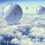 Ballons flottants pour capter les rayons solaires au-dessus des nuages